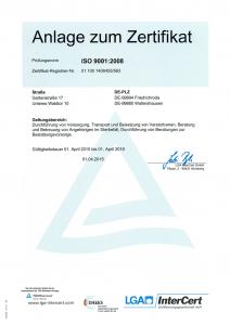 ISO-Zertifikat BIG Anlage