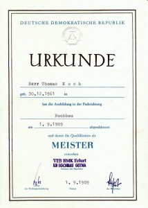 Meister-Urkunde Koch
