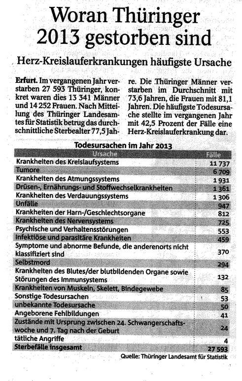 Woran Thüringer 2013 gestorben sind