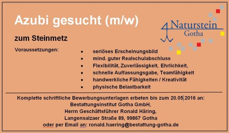 Steinmetz-Azubi gesucht!