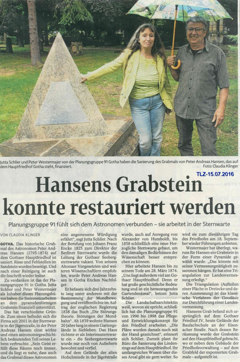Restaurierung Hansen-Denkmal